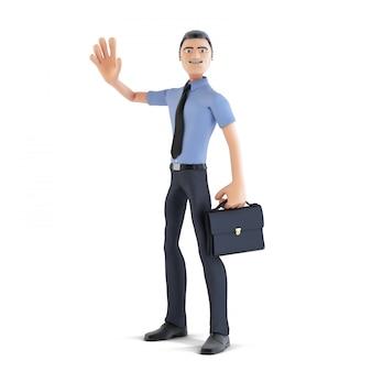 Feliz empresário 3d acenando a mão e sorrindo. isolado. contém o traçado de recorte