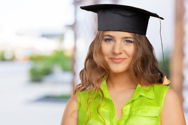 Feliz, estudante, em, boné graduação