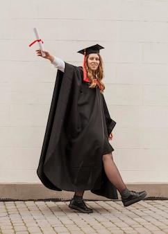 Feliz, graduado, menina