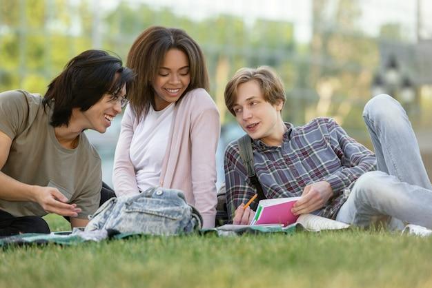 Feliz grupo de estudantes multiétnicas, estudando ao ar livre