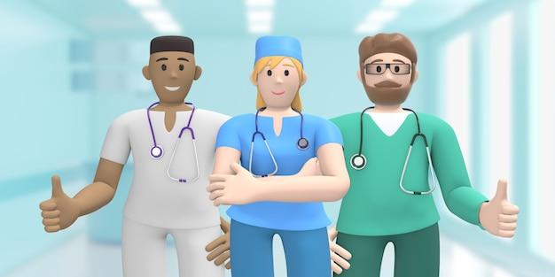 Feliz grupo multinacional de médicos no interior da medicina, polegar para cima.