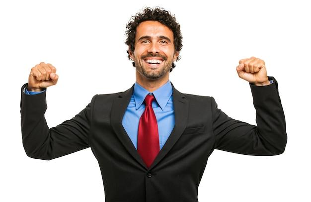 Feliz, homem negócios, com, seu, braços levantaram