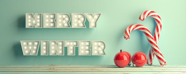 Feliz inverno natal vermelho branco torcido doce cana caramelo em aquas3d