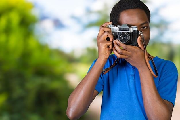 Feliz, jovem, africano, fotógrafo
