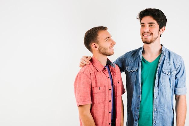 Feliz, ligação, par gay