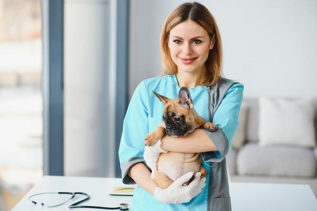 Feliz médico veterinário abraços cachorrinho na clínica veterinária. espaço vazio para texto