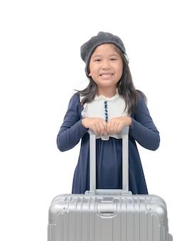 Feliz, menina asiática, com, bagagem, isolado