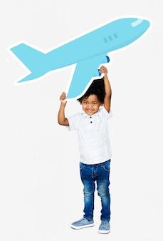 Feliz, menino, segurando, um, avião, ícone