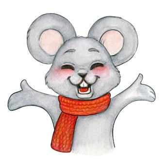 Feliz mouse festivo em aquarela de braços abertos