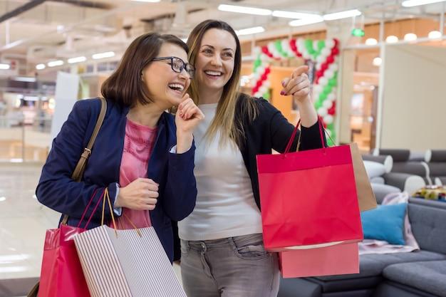 Feliz, mulher, amigos, shopping