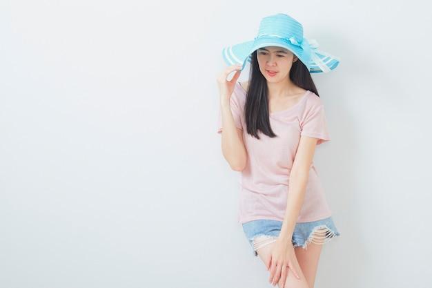 Feliz, mulher asian, desgastar, verão, moda