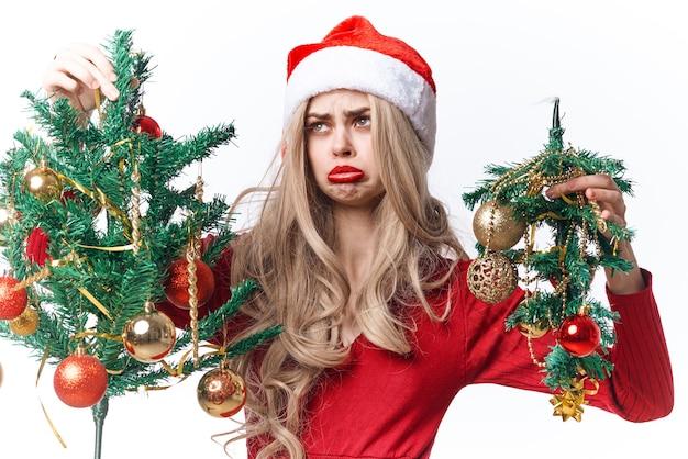 Feliz mulher natal brinquedos decoração moda feriado