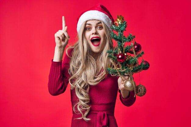 Feliz mulher natal decoração brinquedos tradição feriado