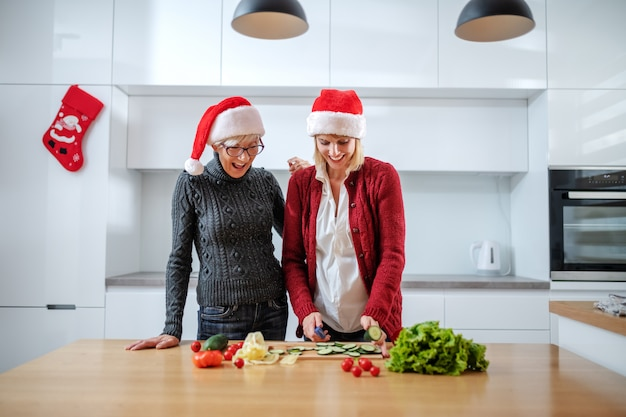 Feliz mulher sênior e sua filha preparando a refeição para a véspera de ano novo. ambos com chapéus de papai noel na cabeça. filha cortando pepino. no balcão da cozinha são legumes. interior da cozinha doméstica.