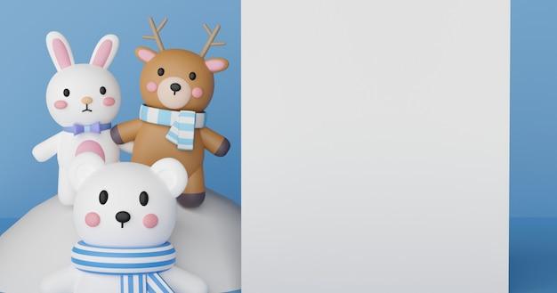 Feliz natal, celebrações de natal com animais fofos e espaço para texto. renderização em 3d.