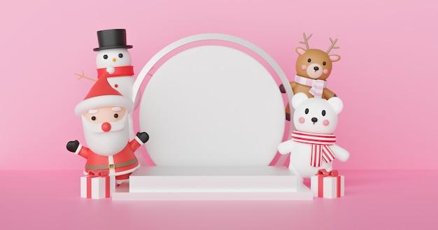 Feliz natal, celebrações de natal com papai noel e amigos com pódio para um produto. renderização em 3d.