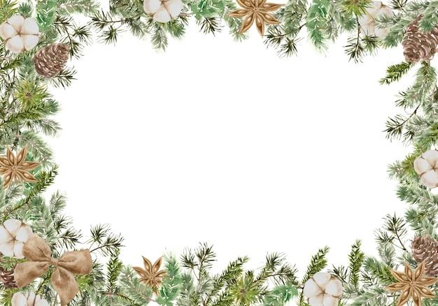 Feliz natal composição de moldura quadrada com ramos de pinheiro e abeto, algodão, flor de anis, arco e cone. inverno