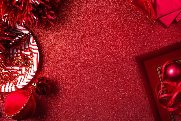Feliz natal e ano novo fundo vermelho