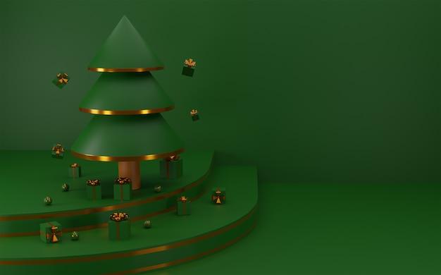Feliz natal e árvore de natal com caixa de presente e bola brilhante. renderização 3d