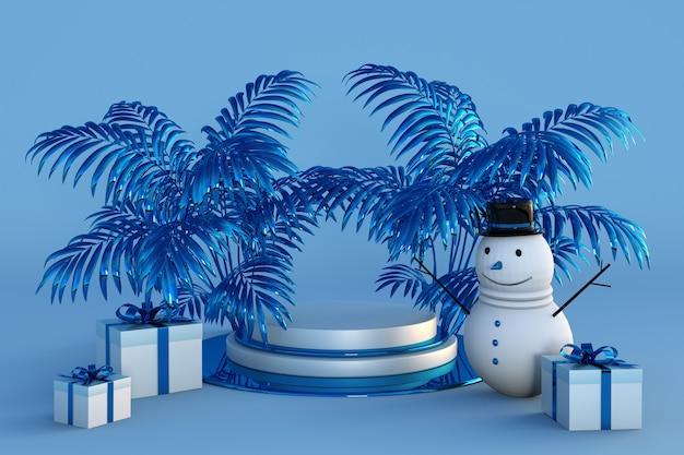 Feliz natal e feliz ano novo 3d azul pódio com palmeiras, caixas de presente festivas e boneco de neve