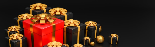 Feliz natal e feliz ano novo banner luxo estilo., caixa de presentes realista vermelha e preta com bolas de natal douradas
