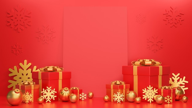 Feliz natal e feliz ano novo banner luxo estilo realista caixa de presentes vermelha e dourada com cartão e bolas de natal douradas.