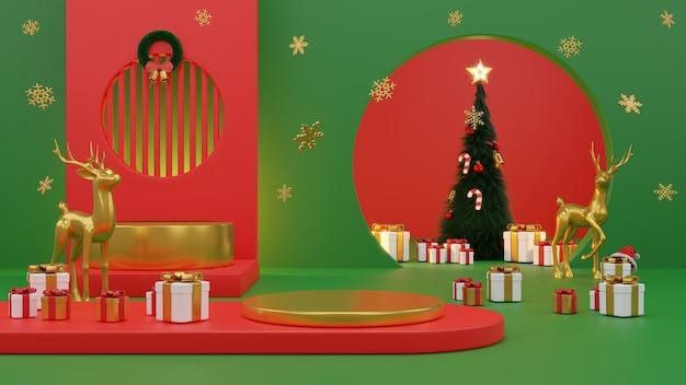 Feliz natal e feliz ano novo., caixa de presente, rodada vazia palco realista, pódio. fundo de férias de inverno. cabeçalho ou banner do site