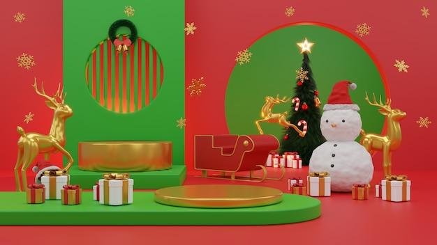 Feliz natal e feliz ano novo caixa de presente rodada vazia pódio de palco realista