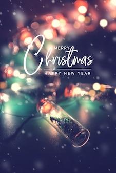 Feliz natal e feliz ano novo conceito, cartão elegante