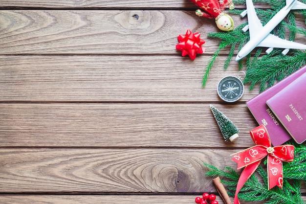 Feliz natal e feliz ano novo conceito de plano de fundo de viagens