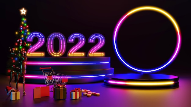 Feliz natal e feliz ano novo de 2022. design minimalista abstrato, árvores de natal de luz de néon, caixa de presente, rodada vazia palco realista, pódio. renderização 3d.