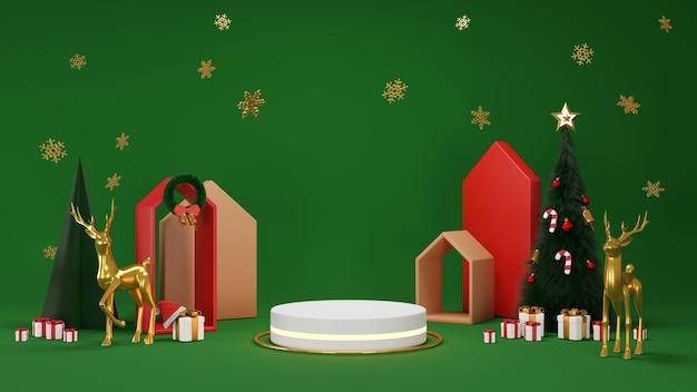 Feliz natal e feliz ano novo. desenho mínimo abstrato, árvores de natal geométricas, caixa de presente, rodada vazia estágio realista, pódio. fundo de férias de inverno. cabeçalho ou banner do site