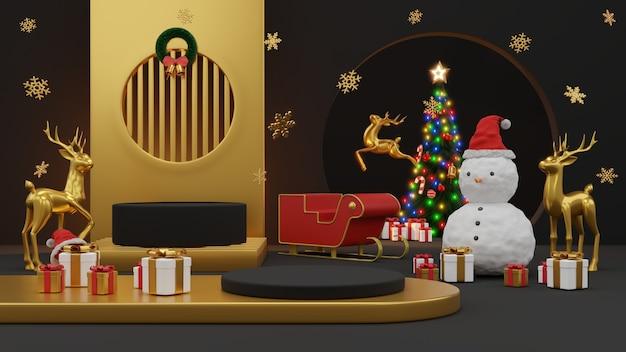Feliz natal e feliz ano novo. desenho mínimo abstrato, árvores de natal geométricas, caixa de presente, rodada vazia estágio realista, pódio. renderização 3d.
