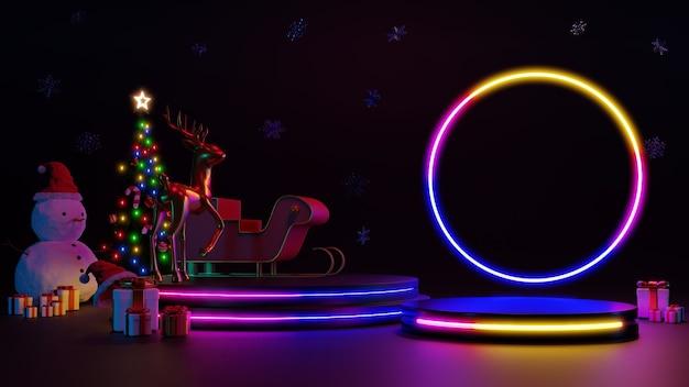 Feliz natal e feliz ano novo. design minimalista abstrato, árvores de natal de luz de néon, caixa de presente, rodada vazia palco realista, pódio. renderização 3d.