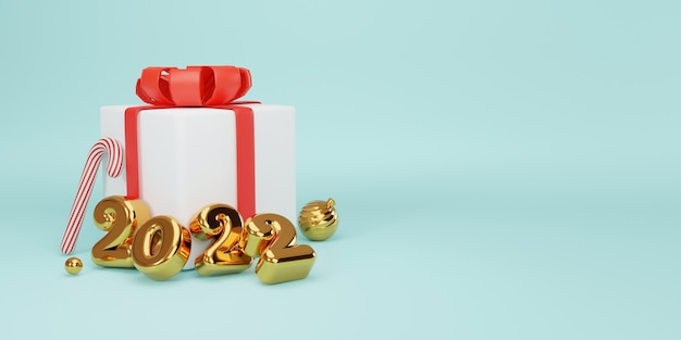 Feliz natal e feliz ano novo design realista de ouro 2022 anos e fechar caixas de presente brancas com fita vermelha decorativa e bolas pelo conceito de técnica de renderização 3d.