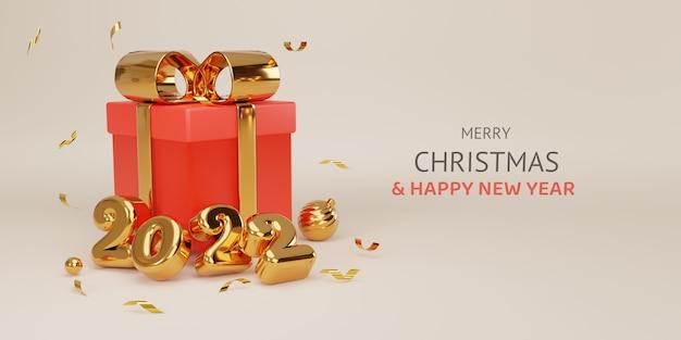 Feliz natal e feliz ano novo design realista de ouro 2022 anos e fechar caixas de presente vermelhas com laços dourados decorativos e bolas pelo conceito de técnica de renderização 3d.