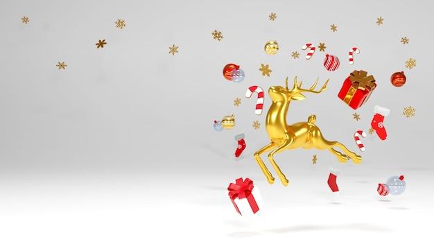 Feliz natal e feliz ano novo, feriado de natal, fundo renderização em 3d