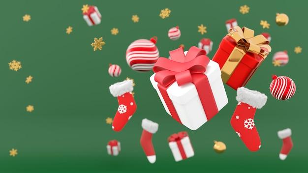 Feliz natal e feliz ano novo. fundo com caixa de presentes festivos realista. presente de natal. caixas azuis caem efeito desfoque movimento, surpresa de presente de feriado, bolas de enfeites de natal, renderização em 3d