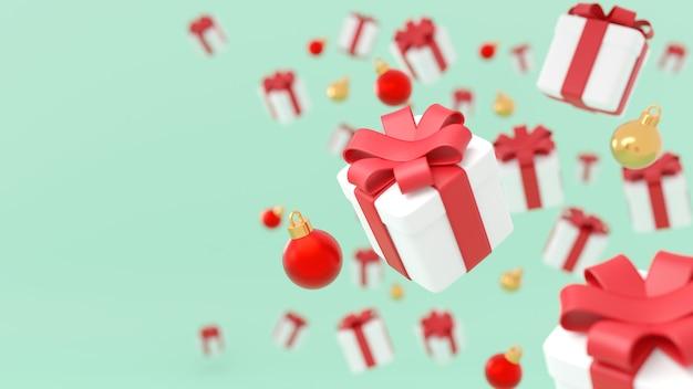 Feliz natal e feliz ano novo. fundo com caixa de presentes festivos realistas. presente de natal. caixas azuis caem efeito desfoque movimento, surpresa de presente de feriado, bolas de enfeites de natal, renderização em 3d