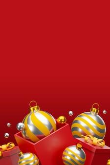 Feliz natal e feliz ano novo fundo com decoração festiva e espaço de cópia. ilustração 3d
