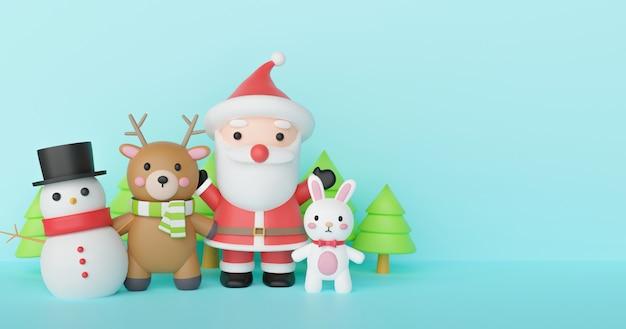 Feliz natal e feliz ano novo fundo com papai noel e amigos