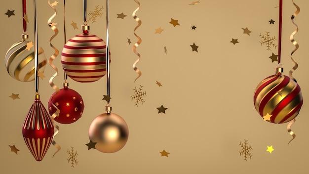 Feliz natal e feliz ano novo. fundo festivo de natal com objetos realistas. elementos de férias, renderização 3d e realismo. cartão, banner, pôster da web.