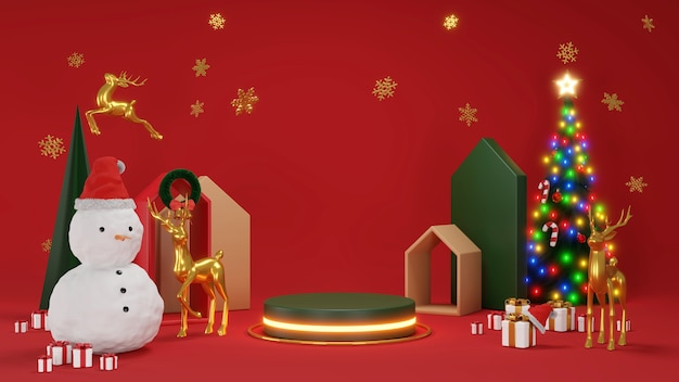 Feliz natal e feliz ano novo geométrica caixa de presente para árvores de natal rodada vazia estágio realista