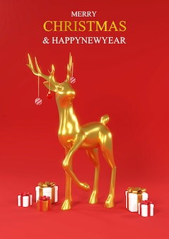 Feliz natal e feliz ano novo natal realista de ouro metálico cervo renderização em 3d