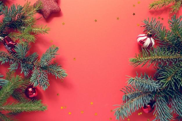 Feliz natal e feliz ano novo no vermelho
