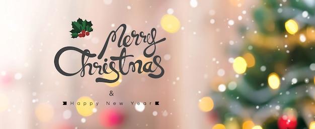 Feliz natal e feliz ano novo texto em fundo colorido bokeh