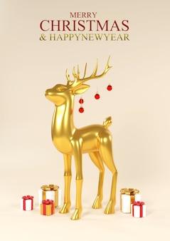 Feliz natal e feliz ano novo. veado de ouro metálico realista de natal. fundo de natal de férias., renderização em 3d.