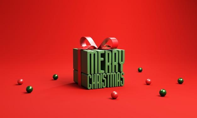 Feliz natal em uma caixa de presente em fundo vermelho.