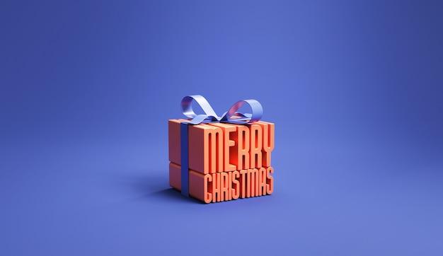 Feliz natal em uma caixa de presente na superfície azul