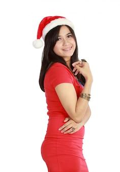 Feliz natal mulher jovem
